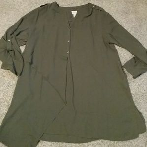 Chicos olive green tunic. Size 3